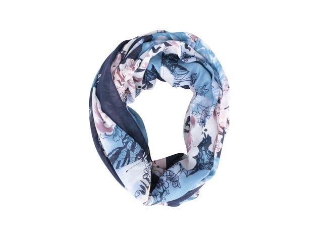Modrý květovaný kruhový šátek Pieces Line