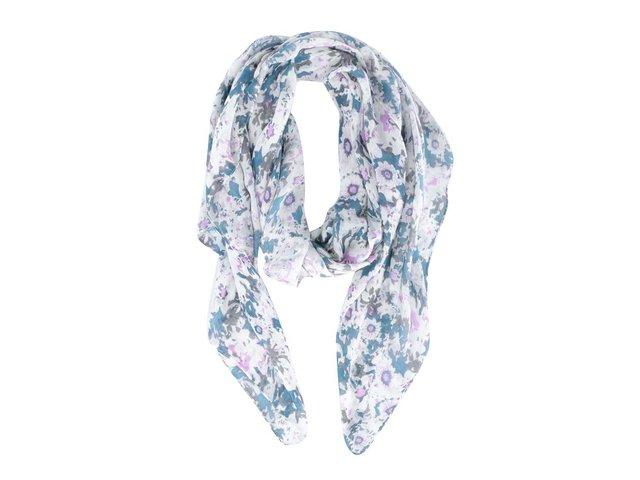 Tyrkysovo-krémový květovaný šátek Pieces Leela