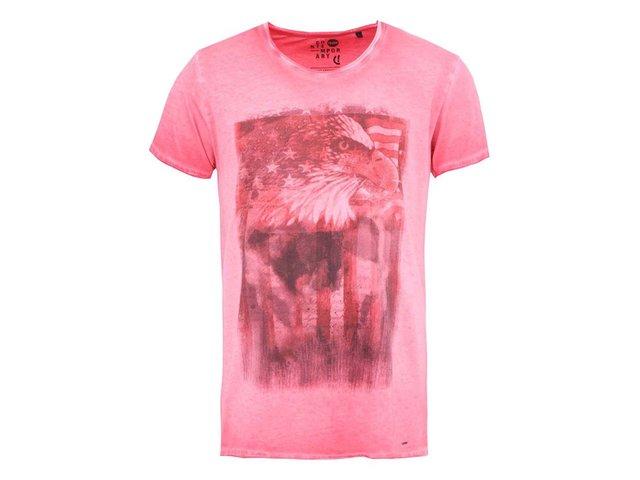 Červené triko s potiskem orla !Solid
