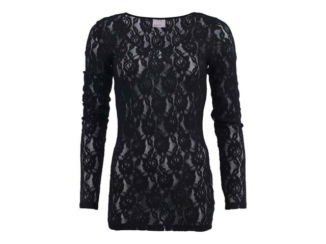 Černý krajkovaný top s dlouhým rukávem Vero Moda Lilly