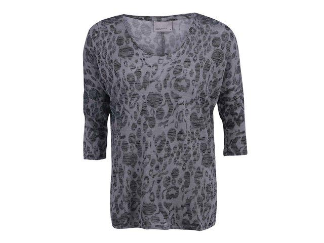 Šedé volnější tričko s leopardím vzorem Vero Moda Anna