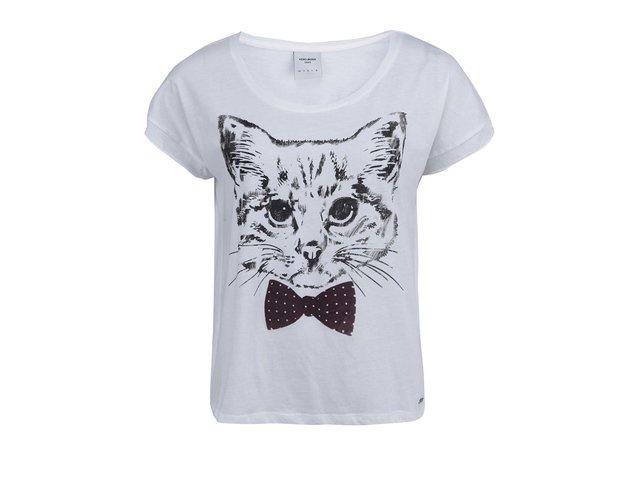 Bílé tričko s kočkou s vínovým motýlkem Vero Moda Pet Cat