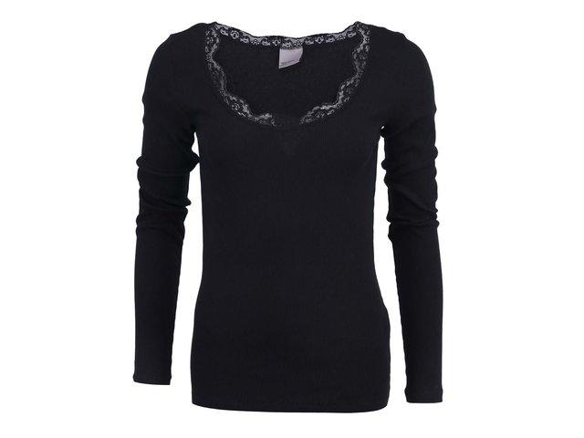 Černý top s krajkovým výstřihem Vero Moda Lena