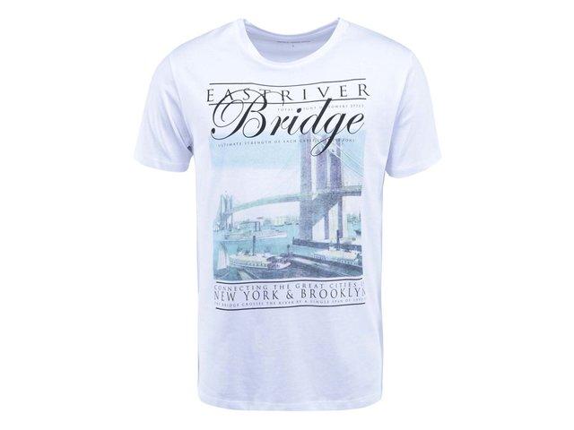 Bílé triko s potiskem mostu Selected Cities