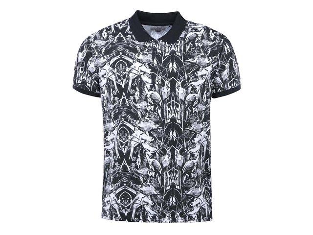 Bílo-černé polo triko s potiskem Shine Original