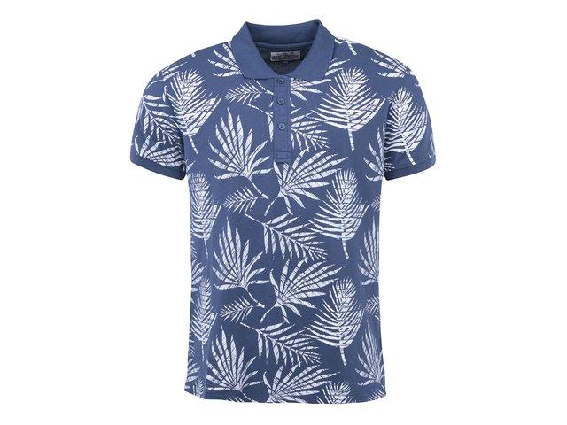 Modré polo triko s potiskem listů Shine Original