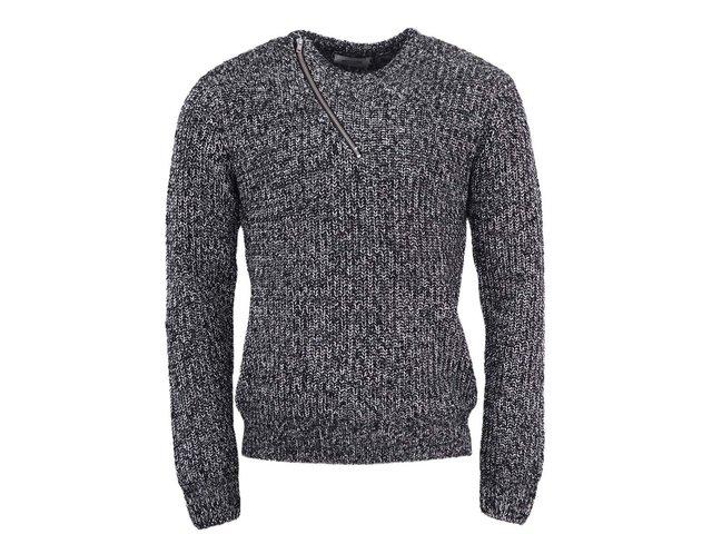 Černý žíhaný svetr se zipem ONLY & SONS Saone
