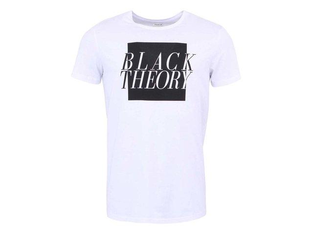 Bílé triko s potiskem Jack & Jones Carl Black Theory