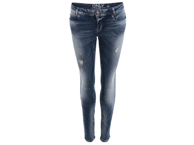 Modré skinny džíny s odřeným efektem ONLY Carrie