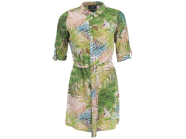Zelené šaty s tropickým potiskem AX Paris