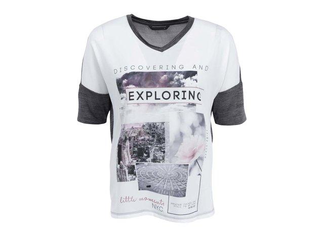 Béžovo-šedé tričko s potiskem ONLY Cooler