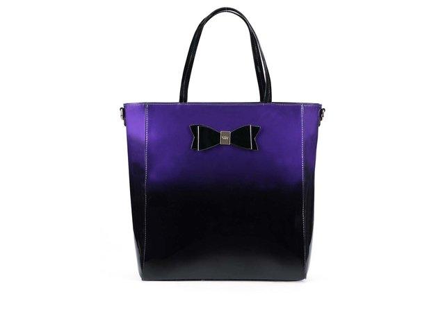 Fialovo-černá lesklá kabelka s mašlí LYDC