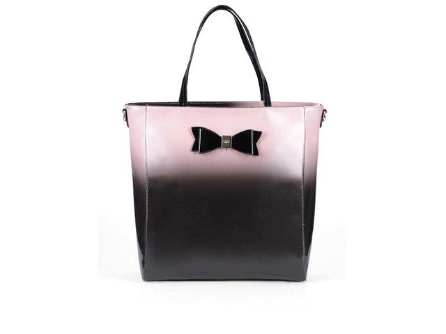 Růžovo-černá lesklá kabelka s mašlí LYDC