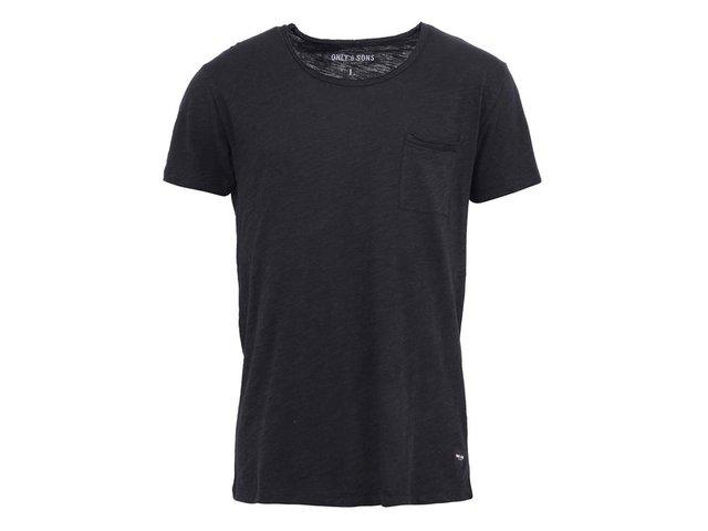 Černé bavlněné triko s kapsou ONLY & SONS Thue