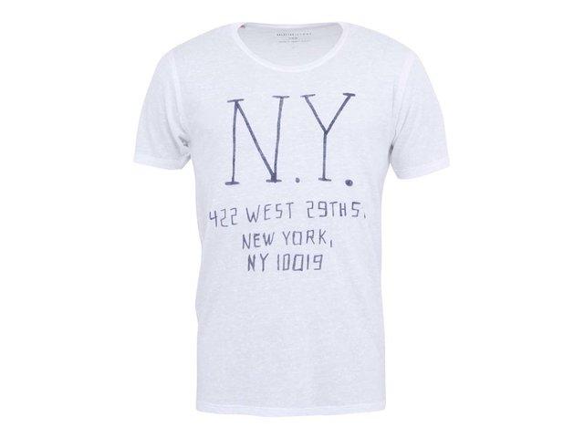 Bílé triko s potiskem Selected Melrose