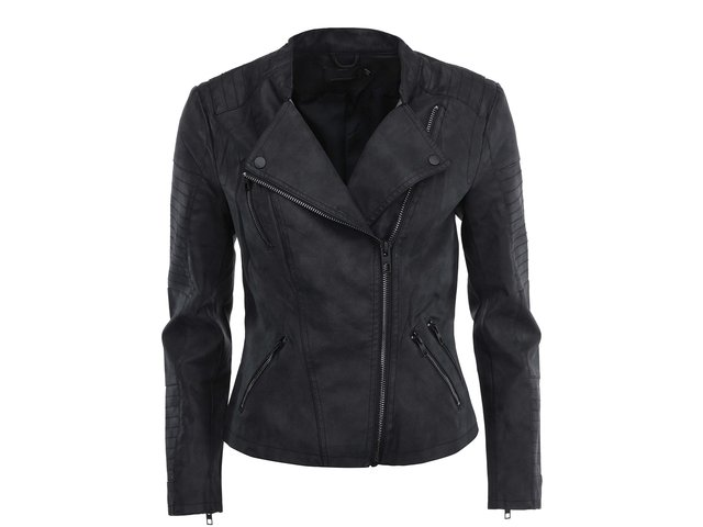 Černá koženková kratší bunda ONLY Biker