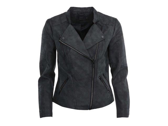 Tmavě šedá koženková kratší bunda ONLY Biker