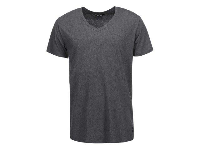 Tmavě šedé triko s véčkovým výstřihem ONLY & SONS Cave