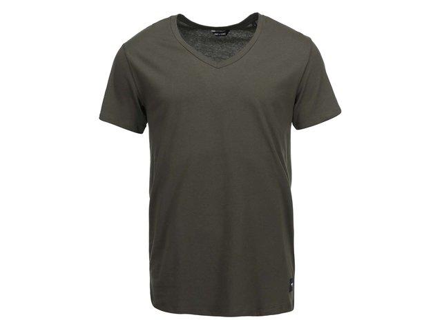 Khaki triko s véčkovým výstřihem ONLY & SONS Cave