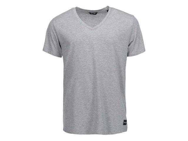 Světle šedé triko s véčkovým výstřihem ONLY & SONS Cave
