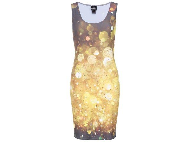 Hnědo-žluté šaty s potiskem Mr. Gugu & Miss Go Glitter