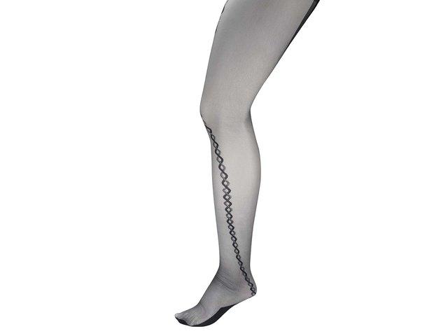 Černé punčochy se  vzorem ve stříbrné barvě Andrea Bucci