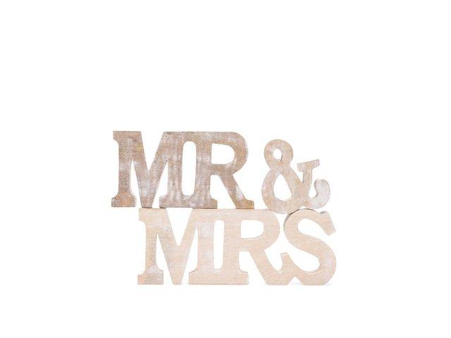 Dřevěná dekorace Sass & Belle Mr. & Mrs.