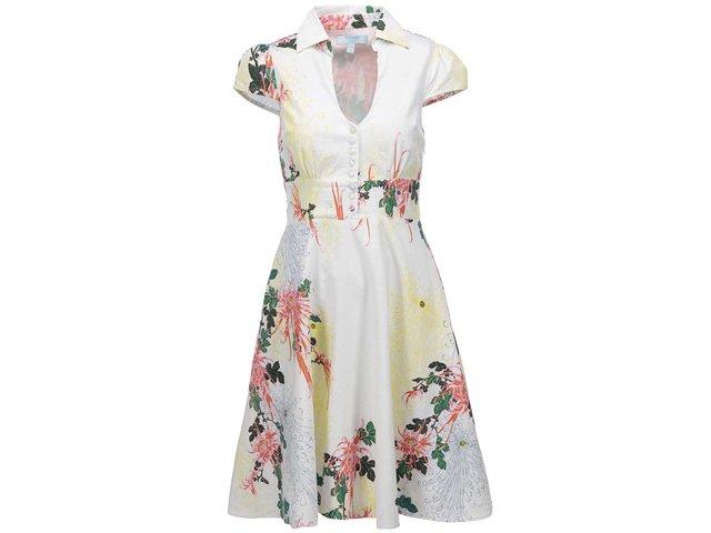 Bílé květované šaty s krátkými rukávy Fever London Biscayne
