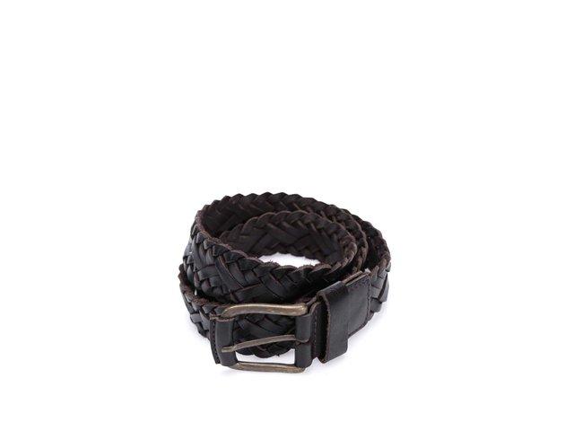 Tmavě hnědý kožený pletený pásek Jack & Jones Wax