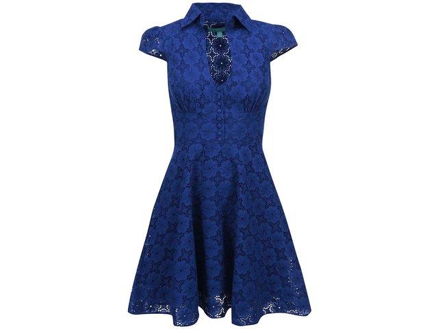 Modré krajkované šaty Fever London Sahara