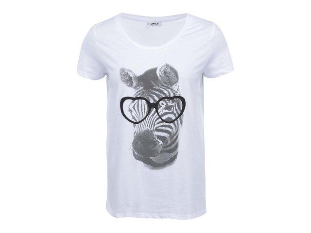 Bílé triko se zebrou ONLY Geeky Animals