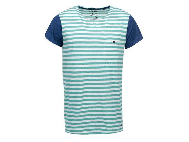 Modro-zelené pruhované triko !Solid Nimit