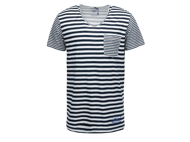 Tmavě modré pruhované triko s kapsou !Solid Nijaz