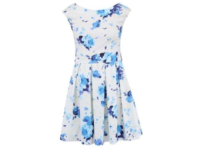 Smetanově bílé šaty s modrými květy Closet