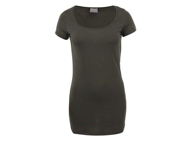 Tmavě zelené jednoduché tričko Vero Moda Maxi