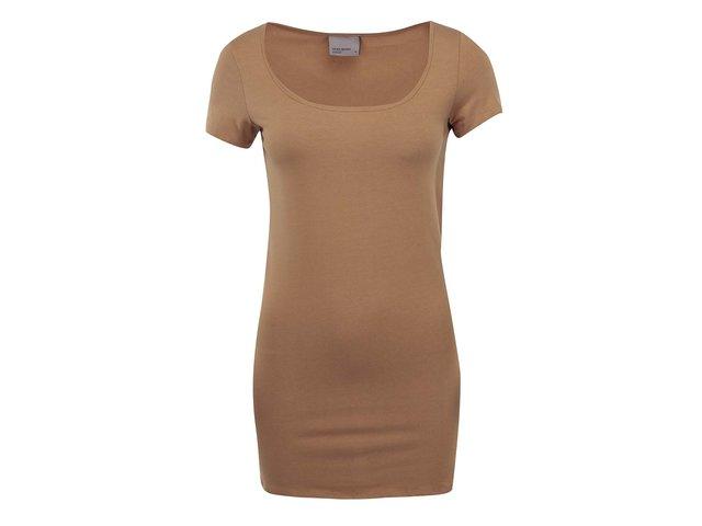 Hnědé jednoduché tričko Vero Moda Maxi