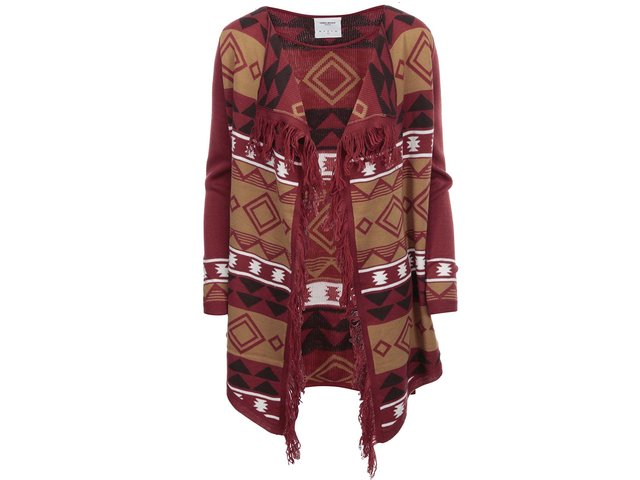 Červený vzorovaný cardigan Vero Moda Sui