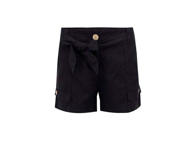 Černé lněné kraťasy se stuhou Vero Moda Just Timun
