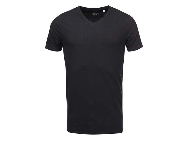 Černé triko s véčkovým výstřihem ONLY & SONS Basic