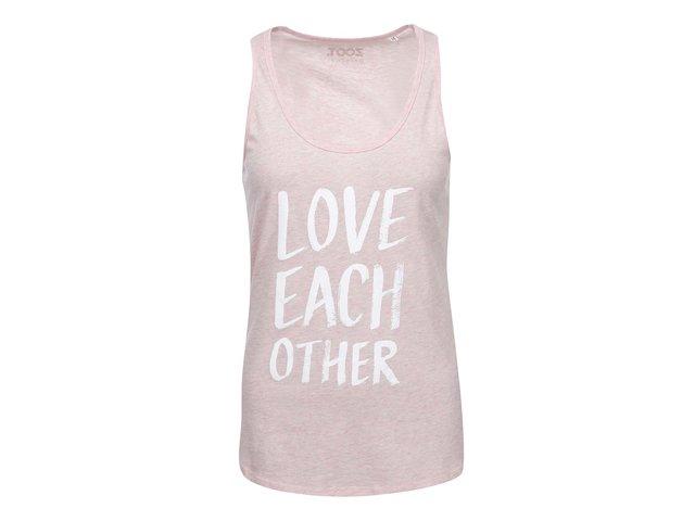 Růžové dámské žíhané tílko ZOOT Originál Love Each Other