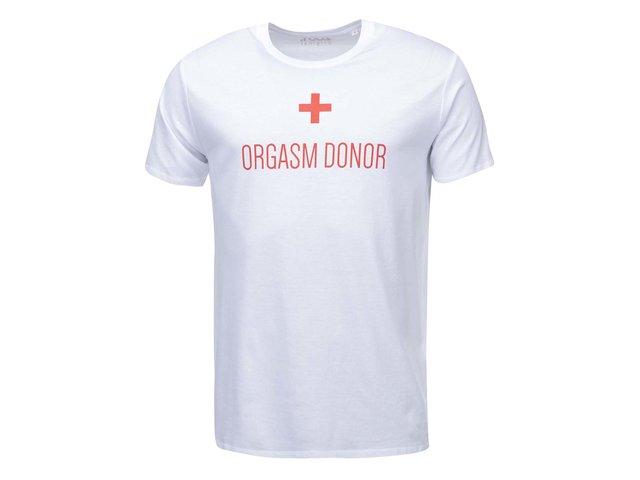 Bílé pánské triko ZOOT Originál Orgasm donor