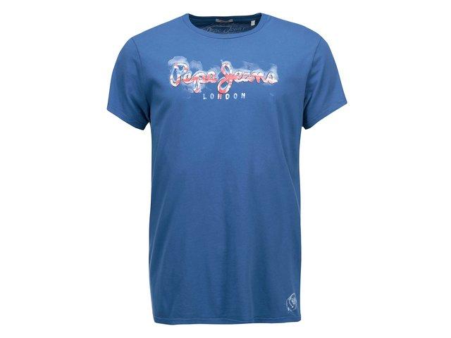 Modré pánské triko s potiskem Pepe Jeans David