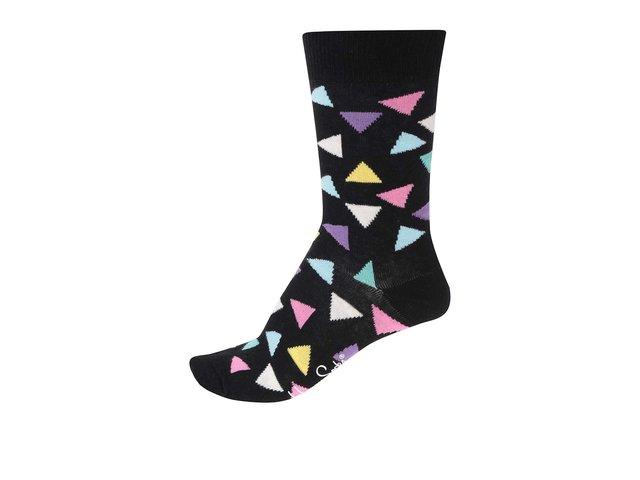 Černé dámské ponožky s barevnými trojúhelníky Happy Socks Triangle
