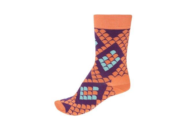 Fialovo-oranžové dámské ponožky s hadím motivem Happy Socks Snake