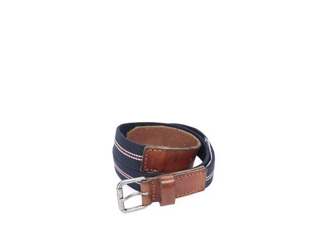 Tmavě modrý pásek s vínovým pruhem a koženými detaily Selected Chad