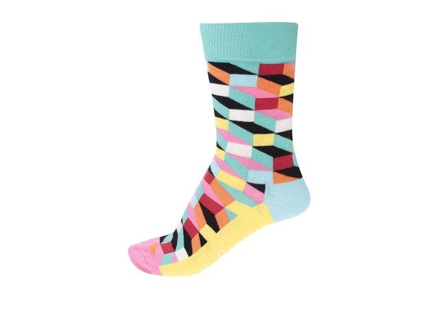 Žluto-tyrkysové dámské vzorované ponožky Happy Socks Filled Optic