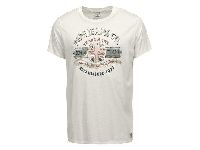 Krémové pánské triko s potiskem Pepe Jeans Michael