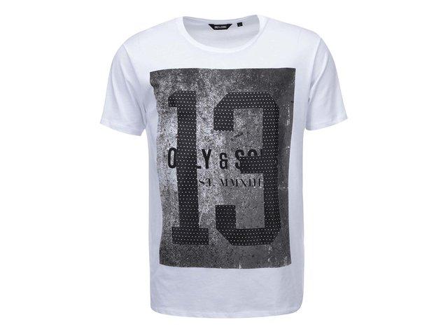 Bílé triko s potiskem ONLY & SONS Dubs