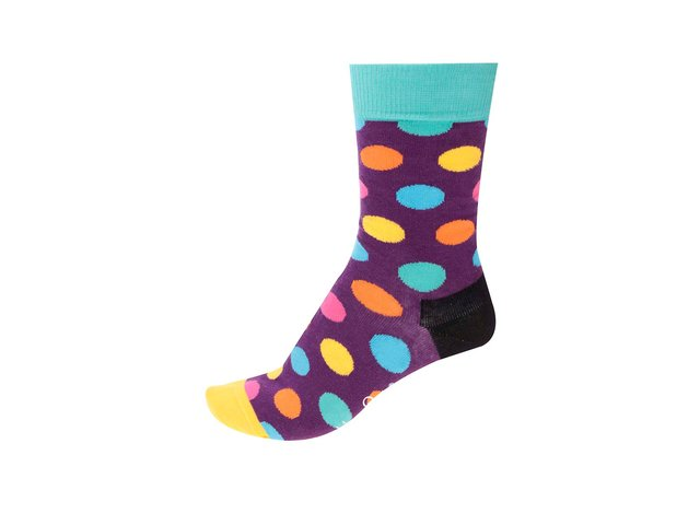 Fialové dámské ponožky s barevnými puntíky Happy Socks Big Dots