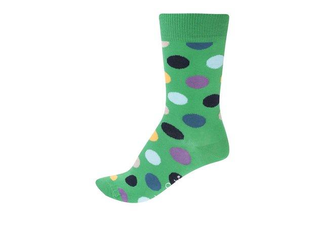 Zelené unisex ponožky s barevnými puntíky Happy Socks Big Dots